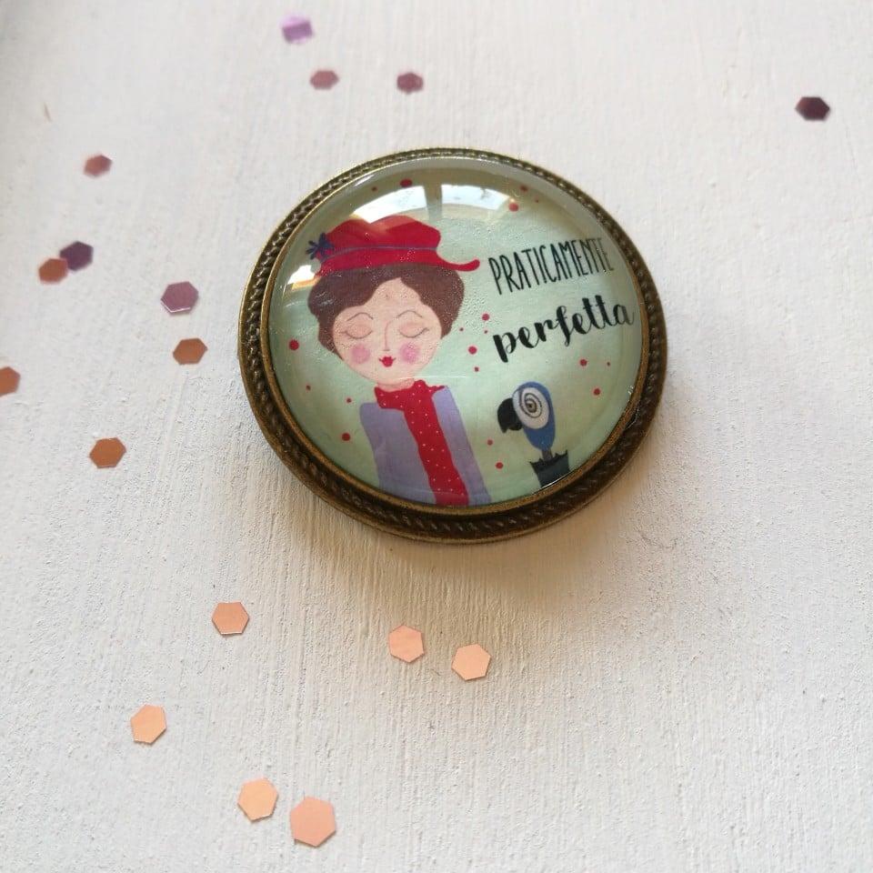 "Spilla illustrata ""Mary Poppins"""