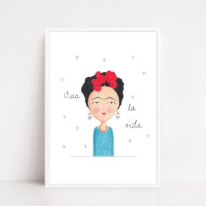 Frida Kalho, stampa illustrazione con cornice
