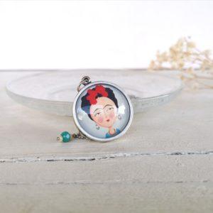 Collana handmade illustrata con Frida Kalho