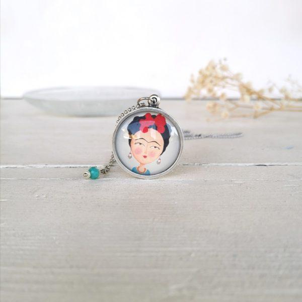 Collana con ciondolo illustrato Frida Kalho