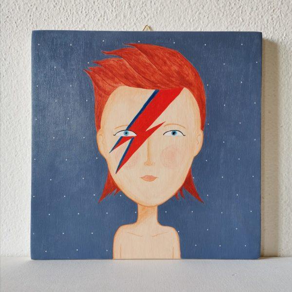 David Bowie, ritratto originale su legno