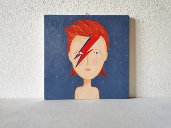 David Bowie ritratto dipinto a mano su legno