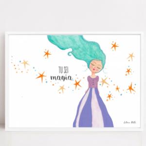 Illustrazione ispirante, magica, con cornice