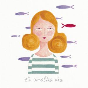 Stampa su canvas dell'illustrazione fatta a mano con pesciolino che nuota controcorrente